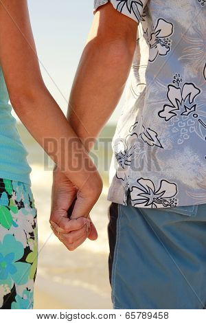 Hands In Love Couple Holding Hands On The Sea Shore