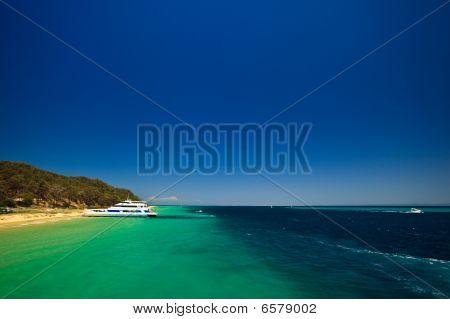 Tour Boat Docked At Moreton Island, Australia