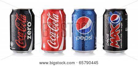Coca-cola And Pepsi Cans
