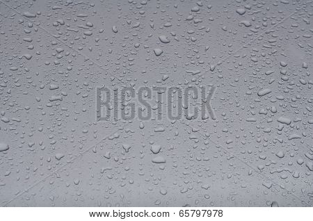 Texture  Hood Of The Car With Raindrops