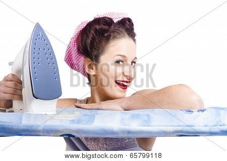 Smiling Housewife Doing Housework Laundry Duties