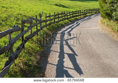 old fence along rural road of Kamena Gora, Serbia