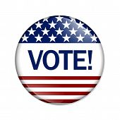 pic of voting  - Vote Button A white button red stripes and stars with word Vote isolated on a white background - JPG