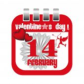 pic of cupid  - Isolated red calendar sheet with cupid and red hearts made for Valentine - JPG