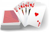 stock photo of flush  - Royal flush hearts five card poker hand playing cards deck - JPG