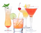 ������, ������: Four Cocktail Drinks Yellow Margarita Cherry And Tropical Martini