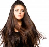 stock photo of blow-up  - Fashion Model Girl Portrait with Long Blowing Hair - JPG