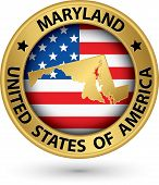 stock photo of maryland  - Maryland state gold label with state map vector illustration - JPG