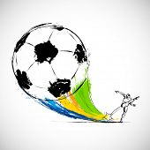picture of brasilia  - illustration of player kicking soccer ball in Football background - JPG