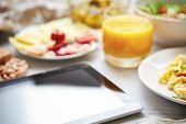 stock photo of continental food  - Fresh continental breakfast - JPG
