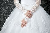 picture of white gown  - Lace white wedding dress with long sleeves - JPG