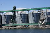 stock photo of silos  - Containers for grains and other products storage silos - JPG