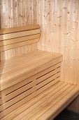 image of swedish sauna  - Detail of wooden interior of sauna bench - JPG