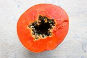 foto of papaya  - Ripe Orangish colored Papaya on an Isolated background - JPG