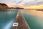 picture of sky diving  - North Narrabeen Tidal Pool from Lane 8 Narrabeen Beach Sydney Australia at sunrise - JPG