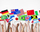 stock photo of indian flag  - People holding flags of their country - JPG