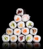 stock photo of sushi  - Japanese seafood sushi set on black background - JPG