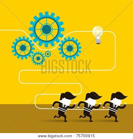 Flat Design Of Businessmen Team Work