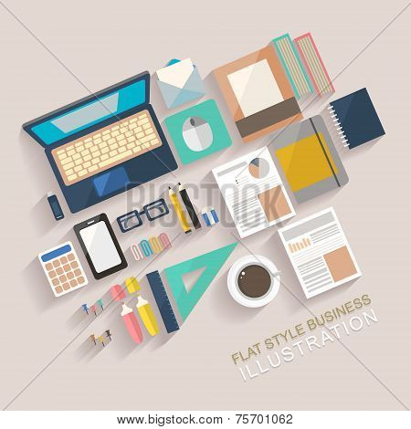 Flat Style Illustration Of Working Place