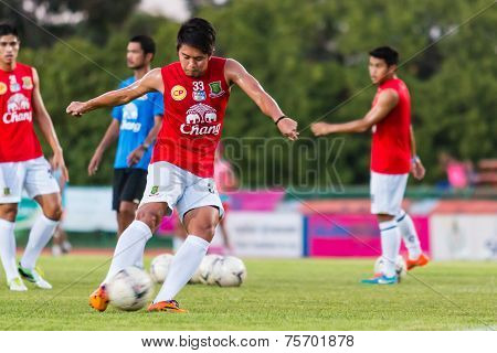 Sisaket Thailand-october 29: Tanakorn Dangthong Of Army Utd. Shooting Ball During A Training Ahead T