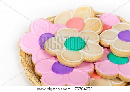 Homemade sugar cookies shaped like flowers