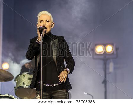 RUSSIA - OCT 28: Marie Fredriksson (Roxette) performs on October 30,2014 in Khabarovsk
