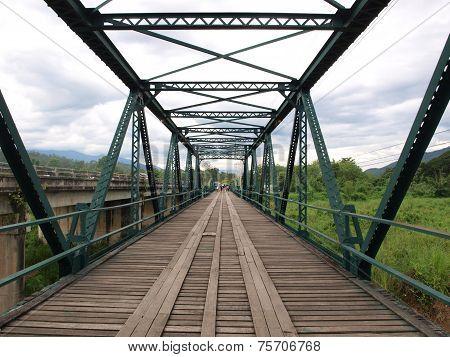Historical bridge over the Pai river in Mae hong son, Thailand.