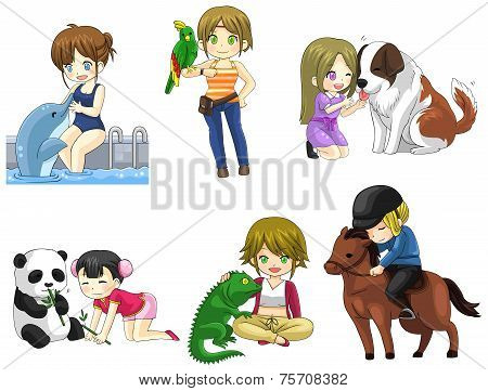 Cartoon Girl With Her Pet Icon Collection Set 2