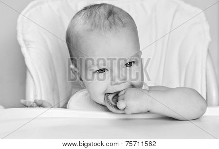 Happy Baby Boy Eating