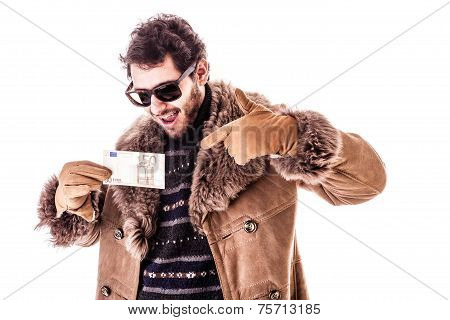 Young Man Holding Euro
