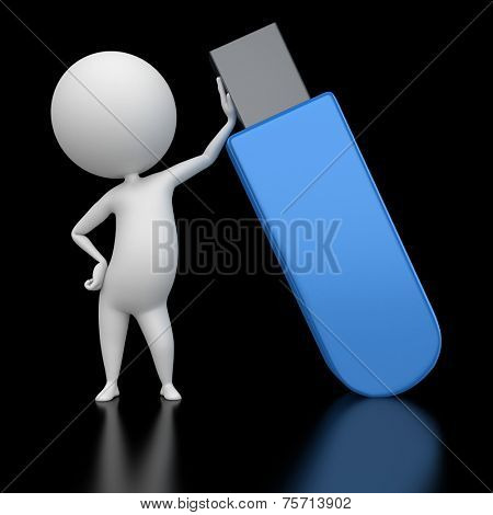 3d rendered illustration of a guy with a flash usb