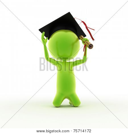 3d rendered illustration of a guy who just graduated