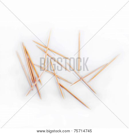 Toothpicks Isolated On White Background