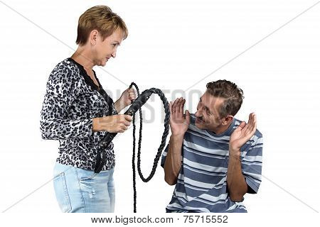 Photo of the old angry wife with whip
