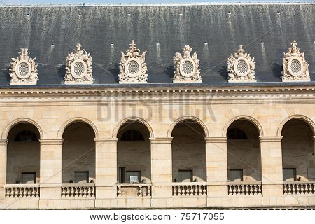 Courtyard of Les Invalides hotel . Paris France