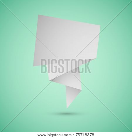 Abstract Origami Speech Background On Green Background