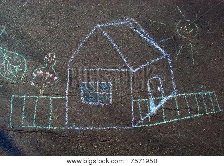 The House - Children's Drawing A Chalk On Asphalt