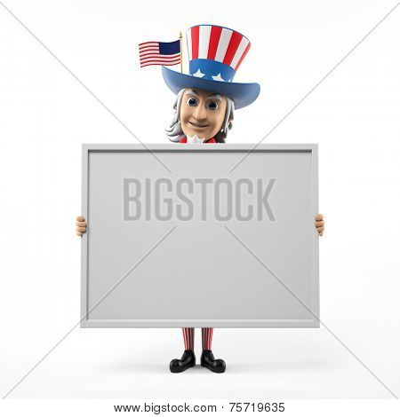 3d rendered illustration of an uncle sam