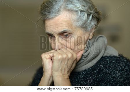 Sick elderly woman