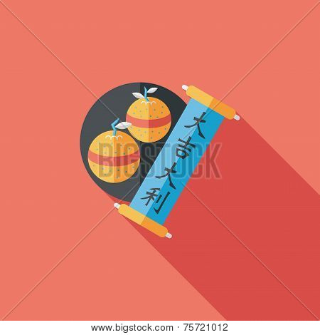 Chinese New Year Flat Icon With Long Shadow,eps10, Chinese Lucky Orange Means