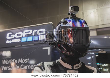Gopro Camera On Display At Eicma 2014 In Milan, Italy