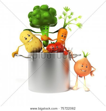 3d rendered illustration of a cooking pot full of vegetables
