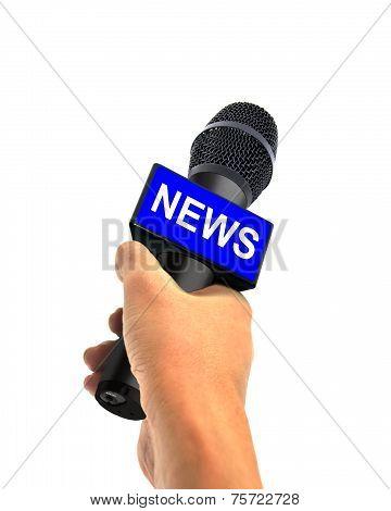 Hand Holding Wireless News Microphone