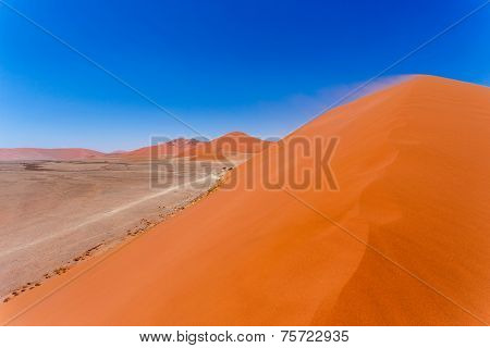 Dune 45 In Sossusvlei Namibia, View From The Top Of A Dune 45 In Sossusvlei Namibia, View From The T