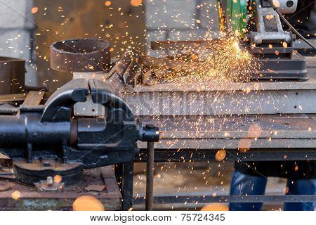 Industrial Cutting Metal On Circular Saw