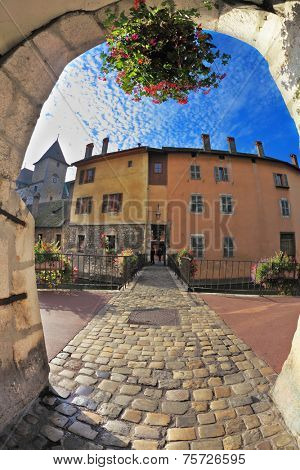 ANNECY, FRANCE - SEPTEMBER 17, 2012: Charming old town of Annecy in Provence. Clear early in the morning