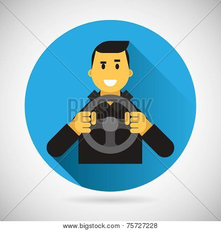 Happy Smiling Driver Character with Car Wheel Icon Ride Driving City Symbol Flat Design Element Vect