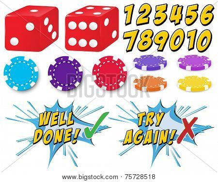 Game set with dice and counters