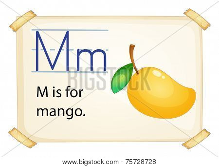 A letter M for mango on a white background