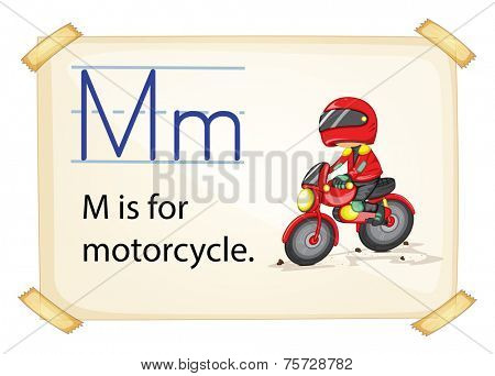 A letter M for motorcycle on a white background